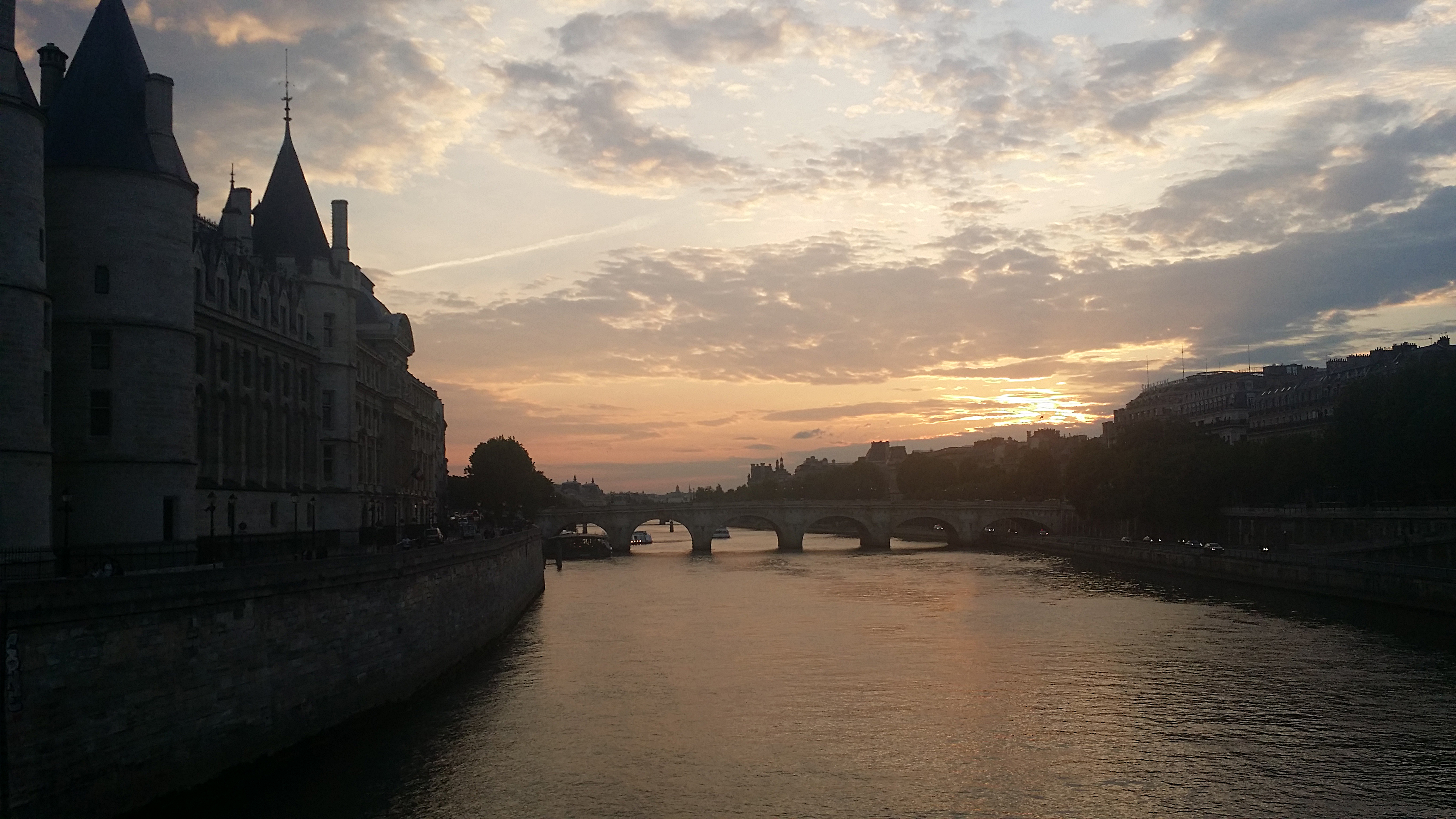 A view over River Seine after sunset